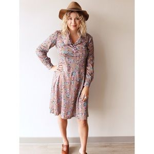70s taupe floral print dress